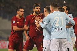 April 15, 2018 - Rome, Lazio, Italy - Moment of tension on court.at Stadio Olimpico of Roma. Lazio and Roma tied for 0-0 the ''derby della Capitale'' of Italian Serie A. (Credit Image: © Paolo Pizzi/Pacific Press via ZUMA Wire)