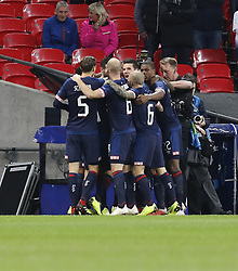 BRITAIN-LONDON-FOOTBALL-CHAPIONS LEAGUE-HOTSPUR VS EINDHOVEN.(181106) -- LONDON, Nov. 6, 2018  Eindhoven's players celebrate their opening goal during the UEFA Champions League match between Tottenham Hotspur and PSV Eindhoven in London, Britain on Nov. 6, 2018. Tottenham Hotspur won 2-1.  FOR EDITORIAL USE ONLY. NOT FOR SALE FOR MARKETING OR ADVERTISING CAMPAIGNS. NO USE WITH UNAUTHORIZED AUDIO, VIDEO, DATA, FIXTURE LISTS, CLUBLEAGUE LOGOS OR ''LIVE'' SERVICES. ONLINE IN-MATCH USE LIMITED TO 45 IMAGES, NO VIDEO EMULATION. NO USE IN BETTING, GAMES OR SINGLE CLUBLEAGUEPLAYER PUBLICATIONS. (Credit Image: © Xinhua via ZUMA Wire)