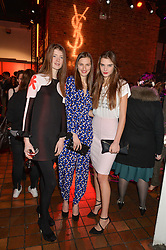 Left to right, JESSICA BURLEY, ZOE HUXFORD and OLIVIA DAVID at the YSL Beauty: YSL Loves Your Lips party held at The Boiler House,The Old Truman Brewery, Brick Lane,London on 20th January 2015.