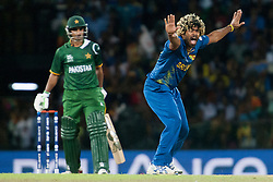 © Licensed to London News Pictures. 04/10/2012. Sri Lankan bowler Lasith Malinga appeals after a close caught behind chance during the World T20 Cricket Mens Semi Final match between Sri Lanka Vs Pakistan at the R Premadasa International Cricket Stadium, Colombo. Photo credit : Asanka Brendon Ratnayake/LNP