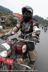 Dave Nolan on day-9 of our Himalayan Heroes adventure riding from Pokhara to Nuwakot, Nepal. Wednesday, November 14, 2018. Photography ©2018 Michael Lichter.