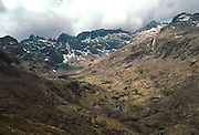 SPAIN, CASTILE and LEON Sierra de Gredos Mountains, southwest of Avila; mountain peaks above Laguna Grande