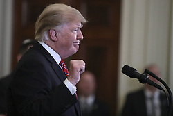 President Donald Trump speaks during a Hanukkah reception in the East Room of the White House on December 6, 2018 in Washington, DC. (Photo by Oliver Contreras/SIPA USA)