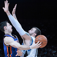 06 October 2010: New York Knicks guard Andy Rautins #11 passes the ball around Minnesota Timberwolves center Nikola Pekovic #14 during the Minnesota Timberwolves 106-100 victory over the New York Knicks, during 2010 NBA Europe Live, at the POPB Arena in Paris, France.