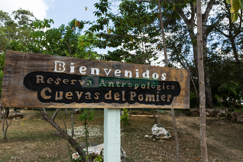 San Cristobal, Dominican Republic - 4/4/2017 - Welcome sign at the Pomier Caves Anthroplogical Reserve near San Cristobal in the Dominican Republic.(Photo by Jon G. Fuller/VWPics) *** Please Use Credit from Credit Field *** *** Please Use Credit from Credit Field ***