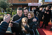 GAMBETTOLA, ITALY - 5 JANUARY 2020: Matteo Salvini, former Interior Minister of Italy and leader of the far-right League party, takes a selfie with  supporters after his rally in Gambettola, Italy, on January 5th 2020.<br /> <br /> Matteo Salvini is campaigning in the region of Emilia Romagna to support the League candidate Lucia Borgonzoni running for governor.<br /> <br /> After being ousted from government in September 2019, Matteo Salvini has made it a priority to campaign in all the Italian regions undergoing regional elections to demonstrate that, in power or not, he still commands considerable support.<br /> <br /> The January 26th regional elections in Emilia Romagna, traditionally the home of the Italian left, has been targeted by Matteo Salvini as a catalyst for bringing down the government. A loss for the center-left Democratic Party (PD) against Mr Salvini's right would strip the centre-left party of control of its symbolic heartland, and probably trigger a crisis in its coalition with the Five Star Movement.