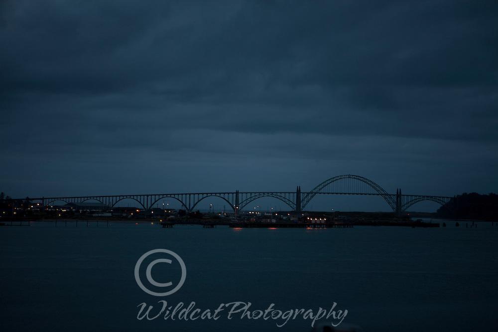 Yaquina Bay Bridge at night.