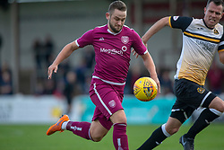 Arbroath's Ryan Wallace and Dumbarton's Andy Dowie. half time : Arbroath 0 v 1 Dumbarton, Scottish Football League Division One played 20/10/2018 at Arbroath's home ground, Gayfield Park.