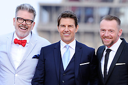Director Christopher McQuarrie, Tom Cruise and Simon Pegg attending the Global Premiere of Mission: Impossible - Fallout at Palais de Chaillot in Paris, France on July 12, 2018. Photo by Aurore Marechal/ABACAPRESS.COM