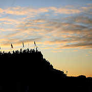 Ryder Cup 2016. Day Two. Spectators watching from the stadium on the first tee at dawn before the start of competition during the Ryder Cup at the Hazeltine National Golf Club on October 01, 2016 in Chaska, Minnesota.  (Photo by Tim Clayton/Corbis via Getty Images)