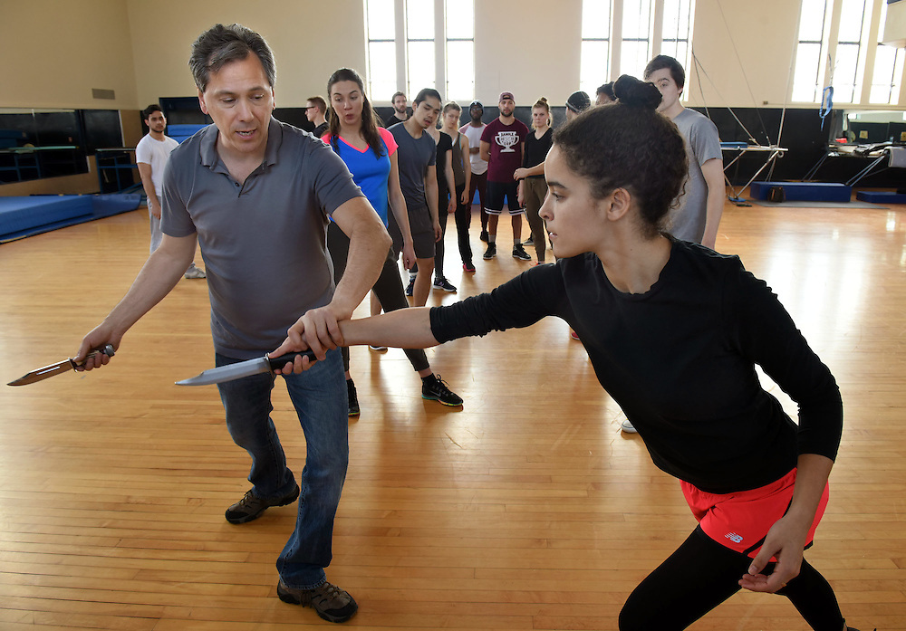 Photo by Mara Lavitt<br /> March 2, 2015<br /> Payne Whitney Gym. Yale University. Yale School of Drama combat acting class led by Rick Sordelet and Mike Rossmy.