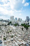 Elevated view of the old cemetery in Trumpeldor street, Tel Aviv, Israel
