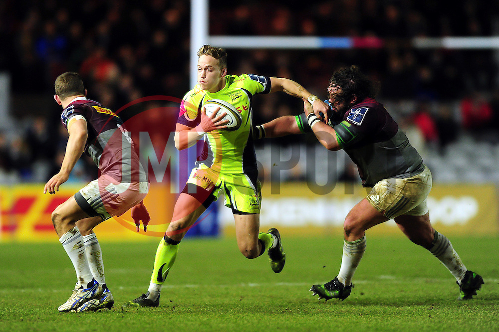 Mike Haley of Sale Sharks in possession - Mandatory byline: Patrick Khachfe/JMP - 07966 386802 - 03/02/2017 - RUGBY UNION - The Twickenham Stoop - London, England - Harlequins v Sale Sharks - Anglo-Welsh Cup.