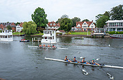 Henley-On-Thames, Berkshire, UK., Friday, 13.08.21,  Approaching the finish line, on the  Bucks station, Lea Rowing Club, have a small lead, over Nottingham Rowing Club, in a heat of the Wyfold Challenge Cup,  2021 Henley Royal Regatta, River Thames, Henley Reach, Thames Valley, [Mandatory Credit © Peter Spurrier/Intersport Images],
