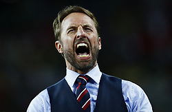 July 3, 2018 - Moscow, Russia - England coach Gareth Southgate celebrates the victory after the penalty shootout of the 2018 FIFA World Cup Russia Round of 16 match between Colombia and England at Spartak Stadium on July 3, 2018 in Moscow, Russia. (Credit Image: © Matteo Ciambelli/NurPhoto via ZUMA Press)