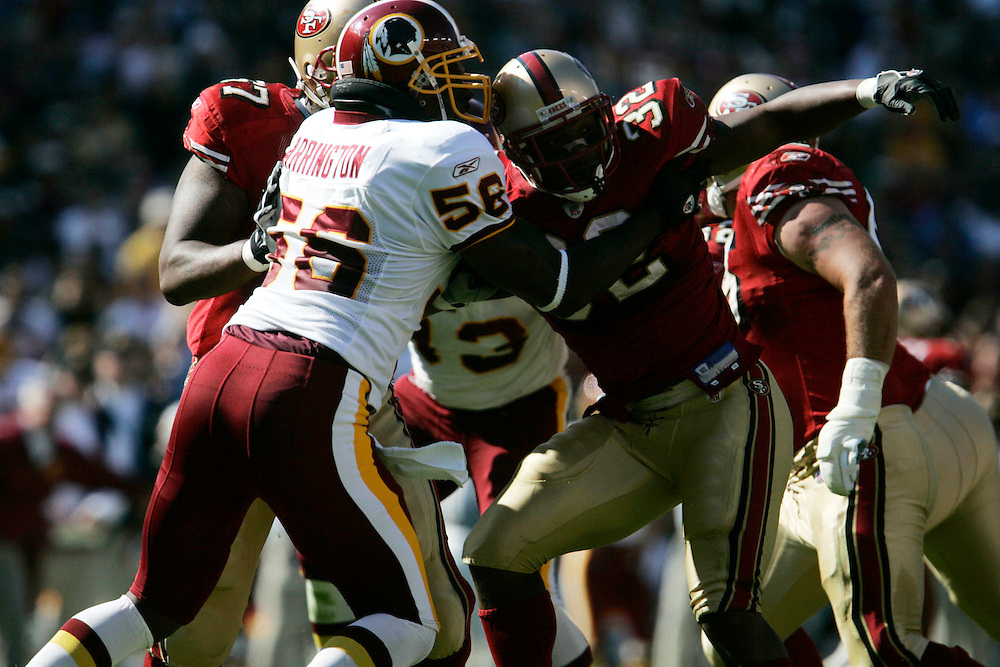Jay Westcott/Examiner     SP   Oct. 23, 2005 - Washington Redskins vs. San Francisco 49ers. - LaVar Arrington gets double teamed.