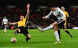 Son Heung-Min of Tottenham Hotspur shoots. - Mandatory by-line: Alex James/JMP - 07/02/2018 - FOOTBALL - Wembley Stadium - London, England - Tottenham Hotspur v Newport County - Emirates FA Cup fourth round proper