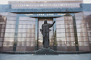 A sculpture of the Grieving Mother stands in front of the Wall of Memory, which contains the names of Transnistrians who died during the breakaway republic's conflict with Moldova from 1990 to 1992.<br /> <br /> Tiraspol, Transnistria (2016)