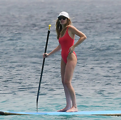 EXCLUSIVE: Abbey Clancy and Peter Crouch pictured on a romantic holiday while paddle boarding in Barbados. 12 Jun 2018 Pictured: Abbey Clancy. Photo credit: Shanice King/246paps / MEGA TheMegaAgency.com +1 888 505 6342