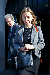 © Licensed to London News Pictures. 11/02/2016. London, UK. Chief Executive of HM Revenue and Customs, LIN HOMER leaving Portcullis House in London after giving evidence to the Commons Public Accounts Committee on corporate tax deals on Thursday, 11 February 2016. Photo credit: Tolga Akmen/LNP