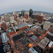 Fisheye lens aerial view of downtown Kansas City buildings and skyline.