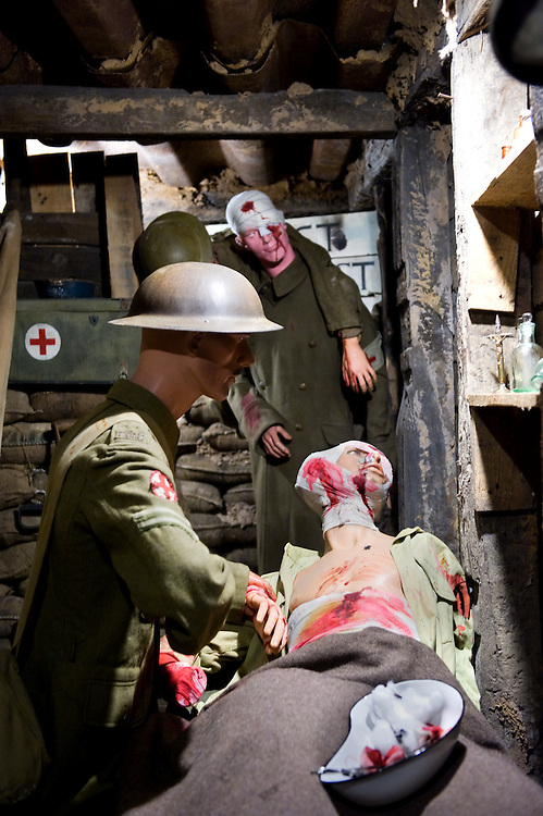 Mannequins dressed with British Expeditionary Force uniforms of WWI in what appears to be a trench hospital at the the Somme Trench Museum in Albert (Musée Somme 1916)The museum is in the old crypts under the basilica of Albert and shows scenes of trench life from WWI, original uniforms, war paraphernalia  and other items rescued from the fields.