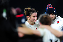 Sarah Hunter of England is all smiles in a post-match huddle - Mandatory byline: Patrick Khachfe/JMP - 07966 386802 - 26/11/2016 - RUGBY UNION - Twickenham Stadium - London, England - England Women v Canada Women - Old Mutual Wealth Series.