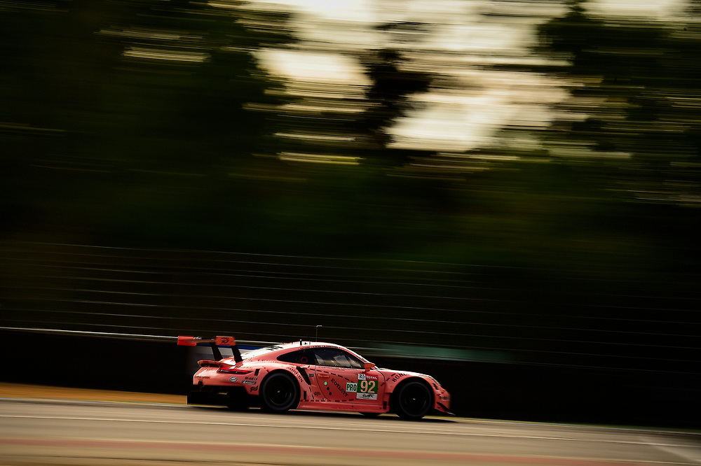 #92 Porsche GT Team Porsche 911 RSR: Michael Christensen, Kevin Estre, Laurens Vanthoor<br /> Wednesday 13 June 2018<br /> 24 Hours of Le Mans<br /> 2018 24 Hours of Le Mans<br /> Circuit de la Sarthe  FR<br /> World Copyright: Scott R LePage