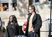05 November 2012:  Patriots Quarterback Tom Brady onstage before Aerosmith play a free concert in front of the building (1325 Commonwealth Avenue ) where band members once lived.  Boston, MA. ***Editorial Use Only*****