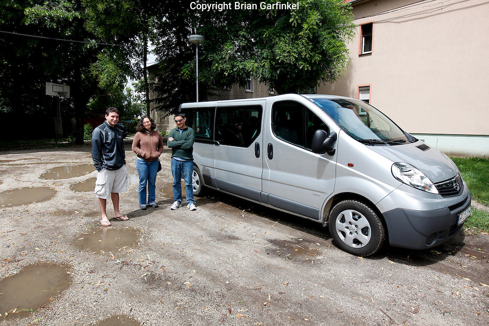 Joel, Kate and Jesus next to our van near the sugar plant in Sered, Slovakia on Friday July 1st 2011. (Photo by Brian Garfinkel)