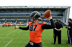 Netherlands players warm up before the IFAF European Championship between Netherlands and Russia at the Sixways Stadium - Photo mandatory by-line: Dougie Allward/JMP - 18/09/2016 - American Football - Sixways Stadium - Worcester, England - Netherlands v Russia - IFAF European Championship