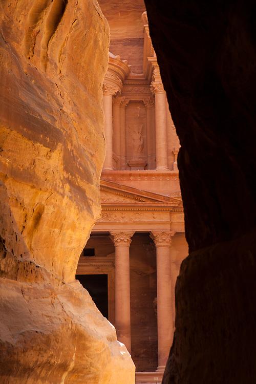 "One of the ""Seven Wonders of the World"" Al-Khazneh or The Treasury seen through the siq, Petra, Jordan"
