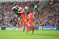 Axel Witsel of Belgium (Zenit Saint Petersburg) heads wide of the goal. - Photo mandatory by-line: Alex James/JMP - Mobile: 07966 386802 - 12/06/2015 - SPORT - Football - Cardiff - Cardiff City Stadium - Wales v Belgium - Euro 2016 qualifier