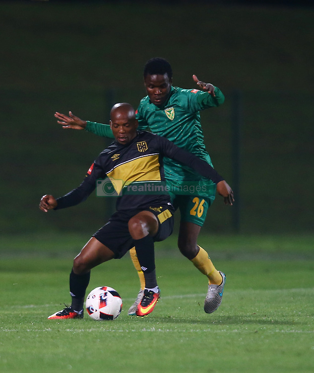Ngoma Aubrey of Cape Town City and Danny Phiri of Golden Arrows during the 2016 Premier Soccer League match between Golden Arrows and Cape Town City FC held at the Prince Magogo Stadium in Durban, South Africa on the 14th September 2016<br /> <br /> Photo by:   Steve Haag / Real Time Images