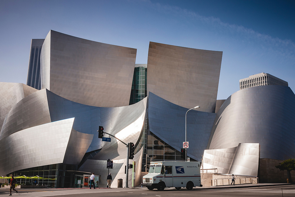 LA Opera House and Concert Hall. Frank Ghery designed and supported by donations from Lillian Disney, also known as the Walt Disney Concert Hall and home to the Los Angeles Philhamonic. Opened in 2003