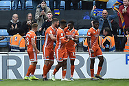 Shrewsbury Town forward Fejiri Okenabirhie (12) scores a goal and celebrates  1-1 during the EFL Sky Bet League 1 match between Coventry City and Shrewsbury Town at the Ricoh Arena, Coventry, England on 28 April 2019.