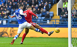 Birmingham City's David Davis (right) scores his sides opening goal