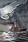 Vessel approaching port signalling with a light that the pilot is needed. Chromolithograph 1901.