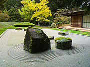 Zen sand garden. The Bloedel Reserve was near its peak of fall colors on October 19, 2005. The Bloedel Reserve is a 150-acre forest garden on Bainbridge Island, Washington, made by the vice-chairman of a lumber company, under the influence of the conservation movement and oriental philosophy. The Bloedel Reserve has both natural and highly-landscaped lakes, immaculate lawns, woods, a traditional Japanese garden, a rock and sand Zen garden, a moss garden, a rhododendron glade, and a Reflection Garden. The Bloedel's French Chateau-style home is preserved as a Visitor Center, including many original furnishings. Reservations are required; visit www.bloedelreserve.org for more information.