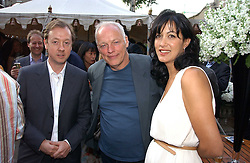 Left to right, GEORDIE GREIG, DAVID GILMOUR and his wife POLLY SAMPSON at the Tatler Summer Party 2006 in association with Fendi held at Home House, Portman Square, London W1 on 29th June 2006.<br /><br />NON EXCLUSIVE - WORLD RIGHTS