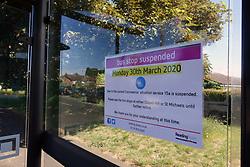 Suspended bus stop during Coronavirus lockdown, Reading, UK May 2020