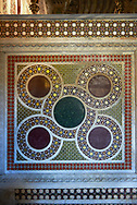 Medieval Byzantine style tiles of the Palatine Chapel, Cappella Palatina, Palermo, Italy .<br /> <br /> If you prefer you can also buy from our ALAMY PHOTO LIBRARY  Collection visit : https://www.alamy.com/portfolio/paul-williams-funkystock/byzantine-art-antiquities.html . Type -    Palatine     - into the LOWER SEARCH WITHIN GALLERY box. Refine search by adding background colour, place, museum etc<br /> <br /> Visit our BYZANTINE MOSAIC PHOTO COLLECTION for more   photos  to download or buy as prints https://funkystock.photoshelter.com/gallery-collection/Roman-Byzantine-Art-Artefacts-Antiquities-Historic-Sites-Pictures-Images-of/C0000lW_87AclrOk