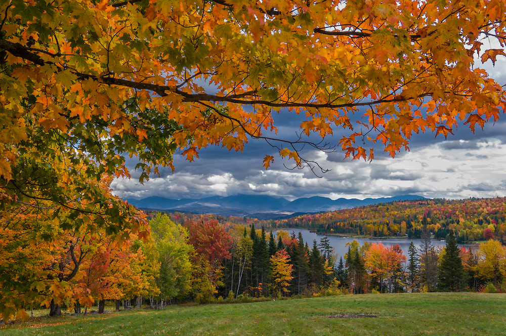 Sugar Maple branches frame fall view Shadow Lake and mountains, Franconia Notch, Concord, VT