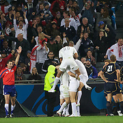 England celebrate Chris Ashton's match winning try during the England V Scotland Pool B match during the IRB Rugby World Cup tournament. Eden Park, Auckland, New Zealand, 1st October 2011. Photo Tim Clayton...