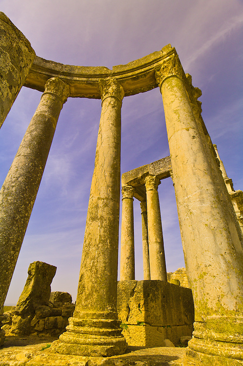 Roman archeological ruins, columns of the theater, Dougga, Tunisia