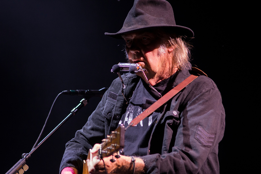 Neil Young performing at Summerfest in Milwaukee, WI on July 5, 2015.
