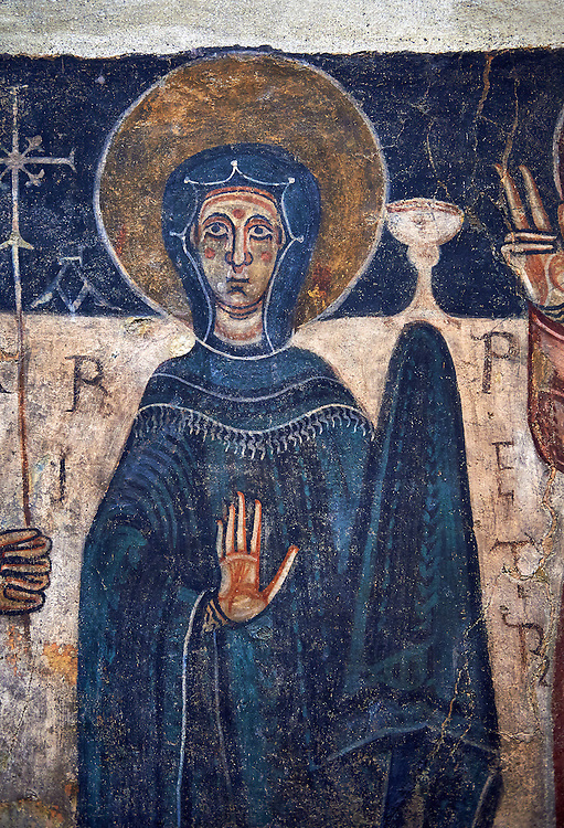 Romanesque frescoes of the Virgin Mary from the church of Sant Roma de les Bons, painted around 1164, Encamp, Andorra. National Art Museum of Catalonia, Barcelona. MNAC 15783 .<br /> <br /> If you prefer you can also buy from our ALAMY PHOTO LIBRARY  Collection visit : https://www.alamy.com/portfolio/paul-williams-funkystock/romanesque-art-antiquities.html<br /> Type -     MNAC     - into the LOWER SEARCH WITHIN GALLERY box. Refine search by adding background colour, place, subject etc<br /> <br /> Visit our ROMANESQUE ART PHOTO COLLECTION for more   photos  to download or buy as prints https://funkystock.photoshelter.com/gallery-collection/Medieval-Romanesque-Art-Antiquities-Historic-Sites-Pictures-Images-of/C0000uYGQT94tY_Y