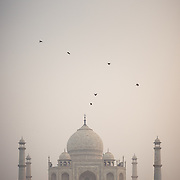 Taj Mahal in fog from Yamuna River