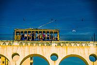 Cariocca Aqueduct (a.k.a. Arcos da Lapa) carries the Santa Teresa streetcar,  Rio de Janeiro, Brazil
