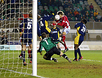 Photo: Scott Heavey.<br /> Wimbledon v Nottingham Forest. Nationwide Division One. 02/03/2004.<br /> Gareth Taylor heads in to the bottom corner to put Forest ahead
